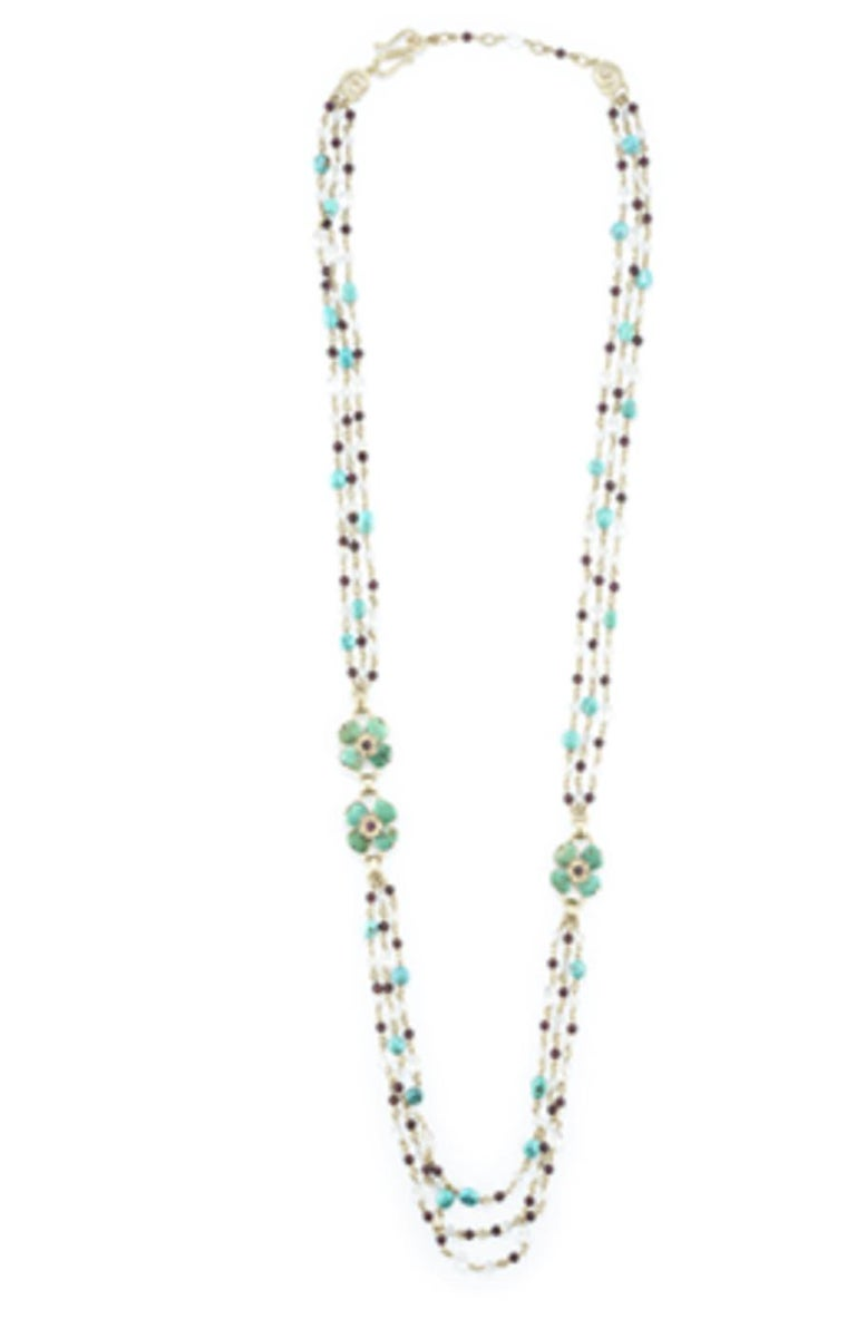 Women's Turquoise, Garnet, Rock Crystal, and Pearl Clover Necklace For Sale