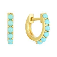 Turquoise Gemstone Huggies, Gold, Ben Dannie