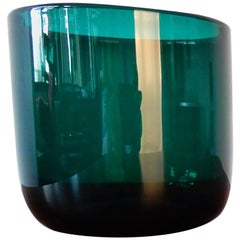 Turquoise Glass 'Grønland' flowerpot by Per Lütken for Holmegaard, Denmark 1961