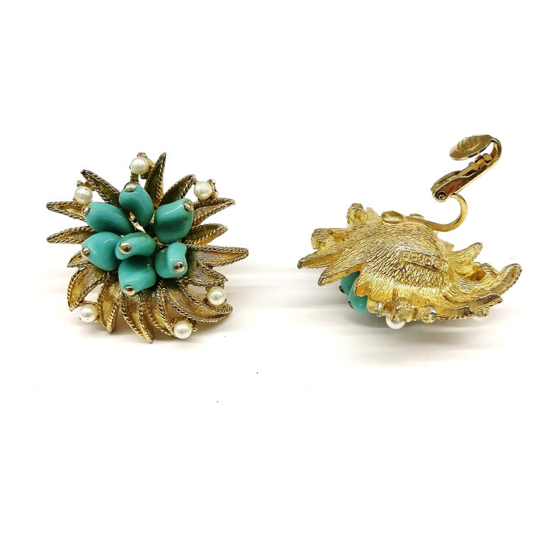 Turquoise glass, paste pearls  and gilt metal earrings, Marcel Boucher, 1960s In Good Condition For Sale In London, GB