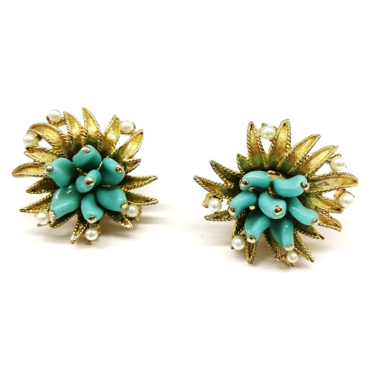 Turquoise glass, paste pearls  and gilt metal earrings, Marcel Boucher, 1960s For Sale 2