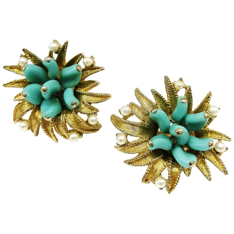 Turquoise glass, paste pearls  and gilt metal earrings, Marcel Boucher, 1960s For Sale