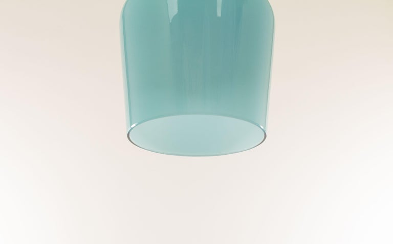 Turquoise Glass Pendant by Massimo Vignelli for Venini, 1950s In Good Condition For Sale In Rotterdam, NL