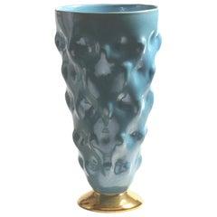 Turquoise Glaze and 24ct Gold Umbonate Majolica Vase, Italy, 21st Century