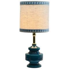 Turquoise Glazed Ceramic Table Lamp with Crackle Glaze