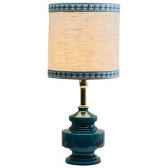 Turquoise Glazed Ceramic Table Lamp with Crackle Glaze