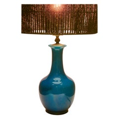 Turquoise Glazed Chinese Ceramic Table Lamp with Crackle Glaze