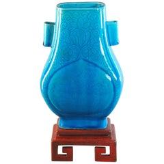 Turquoise Glazed Vase Fanghu Qing Dynasty, 19th Century