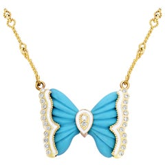 Turquoise Gold and Diamond Butterfly Pendant Necklace White Enamel Stambolian
