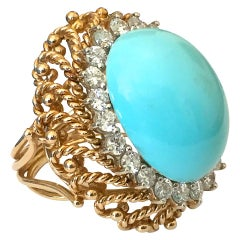 Turquoise Gold and Diamond Statement Ring, 1960s