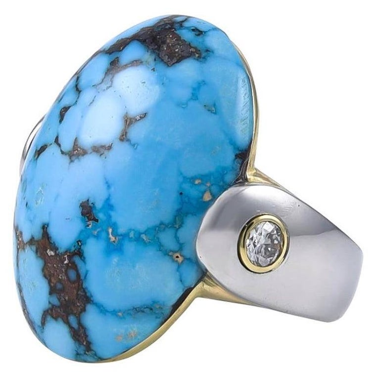Turquoise Gold and Platinum Ring In Excellent Condition For Sale In New York, NY