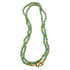 Turquoise & Gold Beaded Necklace by Tagili Designs