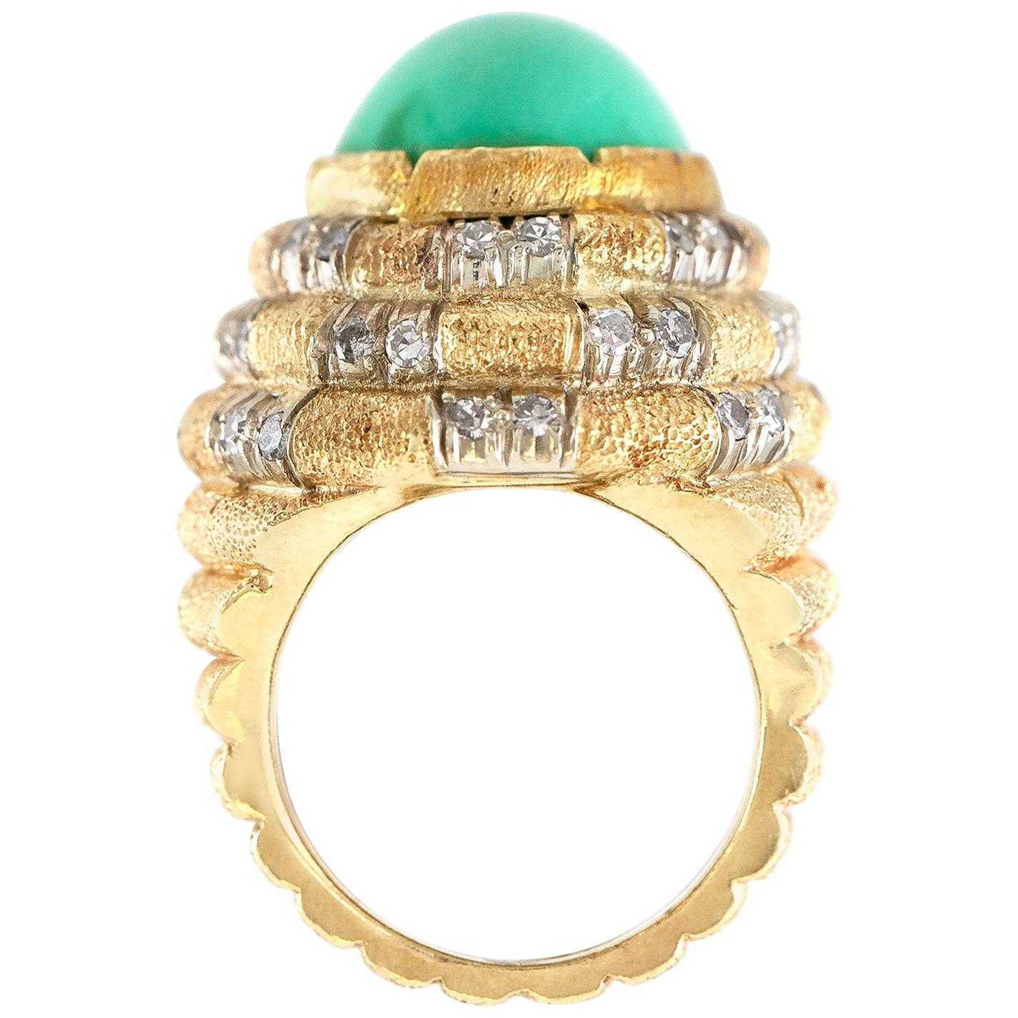 Turquoise Gold Cocktail Ring