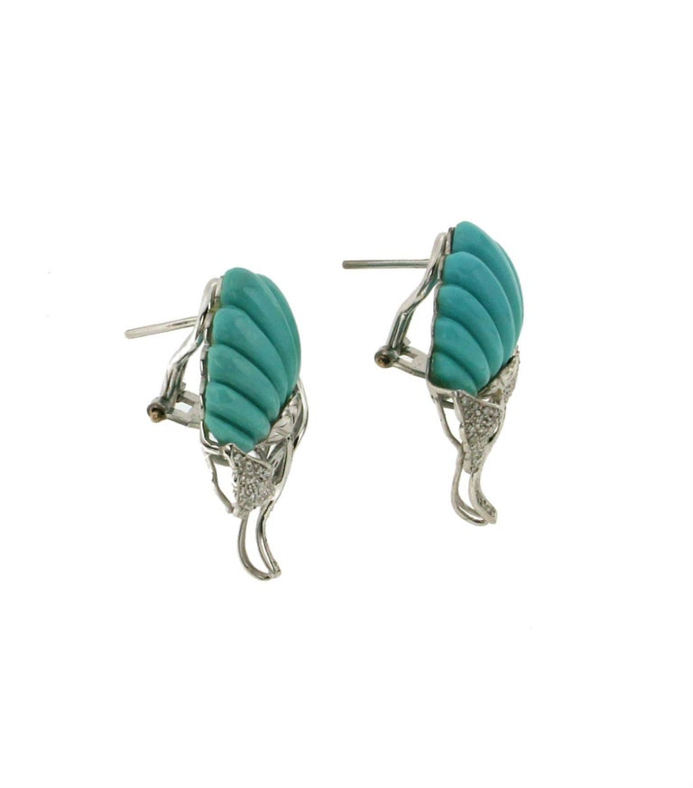 Turquoise 18 Karat White Gold Diamonds Leaves Stud Earrings In New Condition For Marcianise