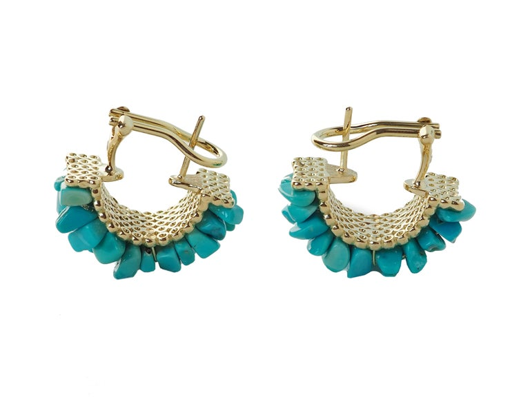 Artist Turquoise Gold Earrings For Sale