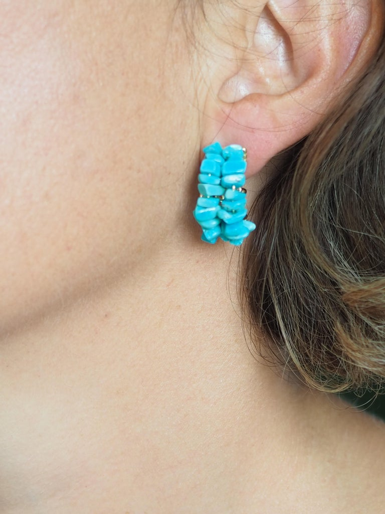 Women's Turquoise Gold Earrings For Sale