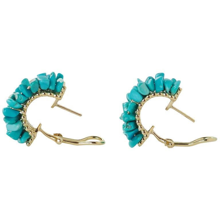 Turquoise Gold Earrings For Sale