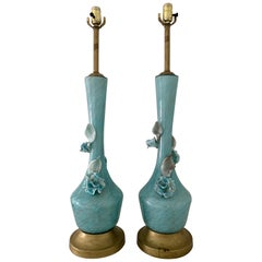 Turquoise and Gold Murano Venetian Glass Lamps Flowers Midcentury Hollywood