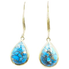 Turquoise & Gold Tone Long Drop Earrings