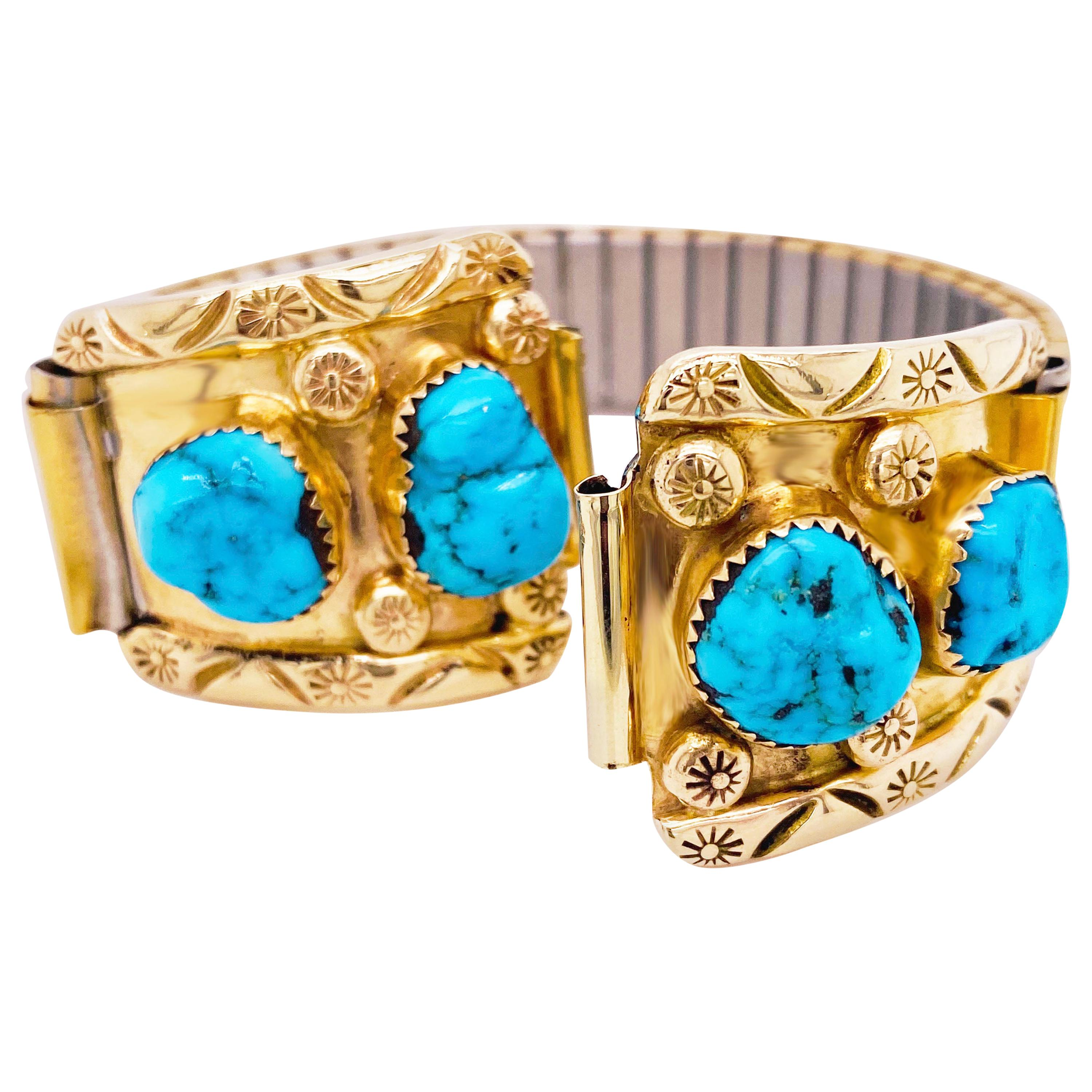 Turquoise Gold Watch Tips, 14 Karat Yellow Gold, Turquoise Nugget in 14k Gold