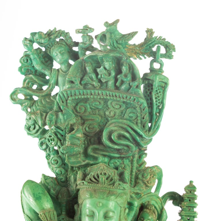 Other Turquoise Guanyin Bodhisattva Female Buddha Asian Art Carved Statue Sculpture For Sale