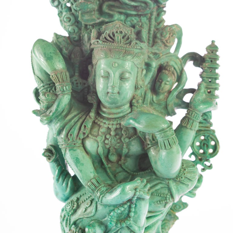 Turquoise Guanyin Bodhisattva Female Buddha Asian Art Carved Statue Sculpture For Sale 1