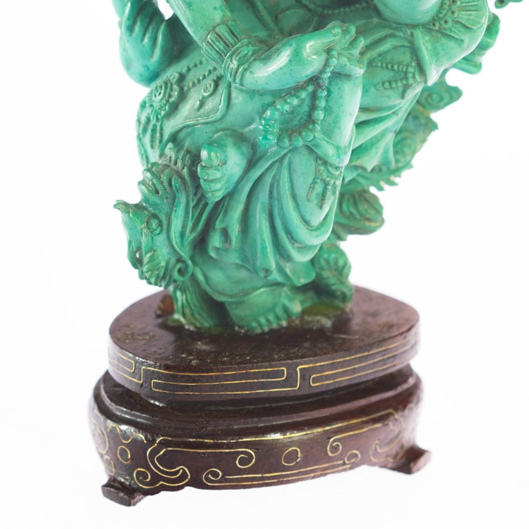 Turquoise Guanyin Bodhisattva Female Buddha Asian Art Carved Statue Sculpture For Sale 2