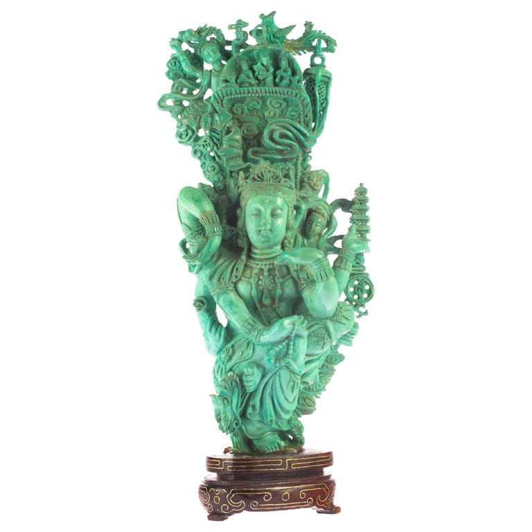 Turquoise Guanyin Bodhisattva Female Buddha Asian Art Carved Statue Sculpture For Sale