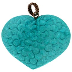 Turquoise Heart 14 Karat Yellow Gold Pendant Necklace