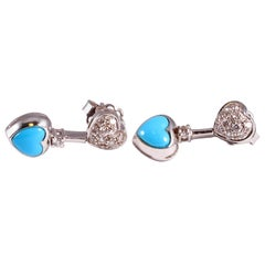 Turquoise Heart Diamond Earrings