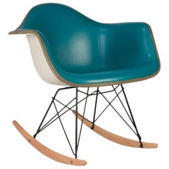 Turquoise Herman Miller Eames Upholstered Rar Rocking Arm Shell Chair