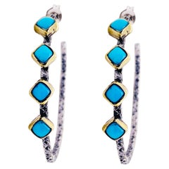 Turquoise Hoop Earrings in Sterling with Turquoise Square Stones Bezel Set