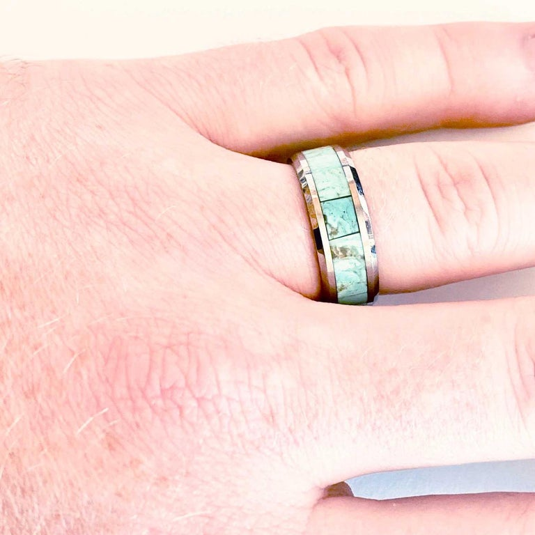 Uncut Turquoise Inlay Tungsten Steel Men's Wedding Band Ring Genuine Turquoise For Sale