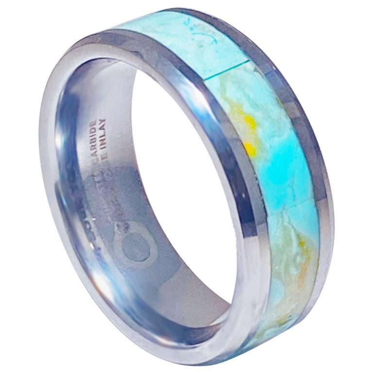 Turquoise Inlay Tungsten Steel Men's Wedding Band Ring Genuine Turquoise For Sale