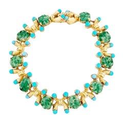 Turquoise & Jade Gilded Link Bracelet By Jomaz, 1970s