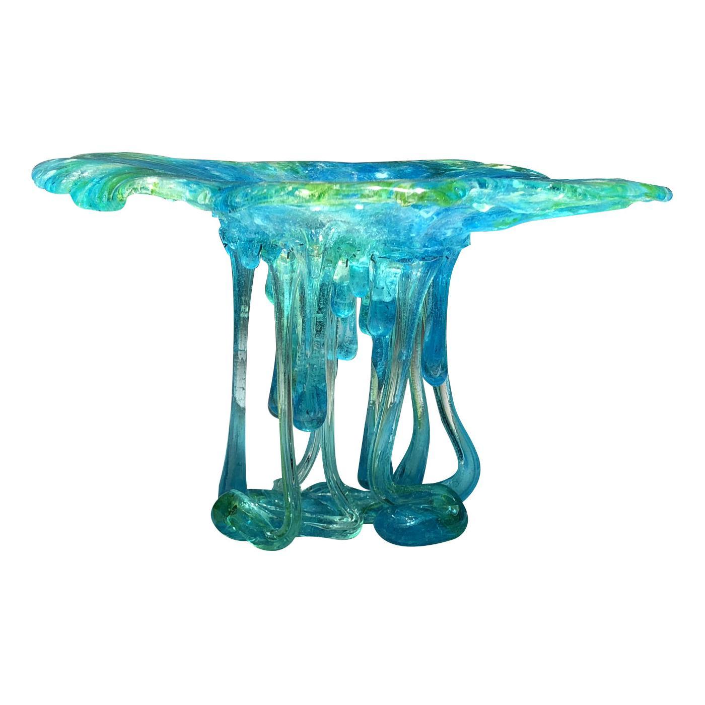 Turquoise Jellyfish Murano Glass Sculpture
