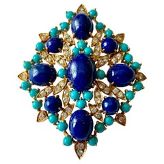 Turquoise, Lapis and Diamond Vintage Brooch/Pendant, circa 1960