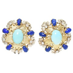 Turquoise, Lapis, Diamond and Two-Tone Gold Floral Clip Earrings