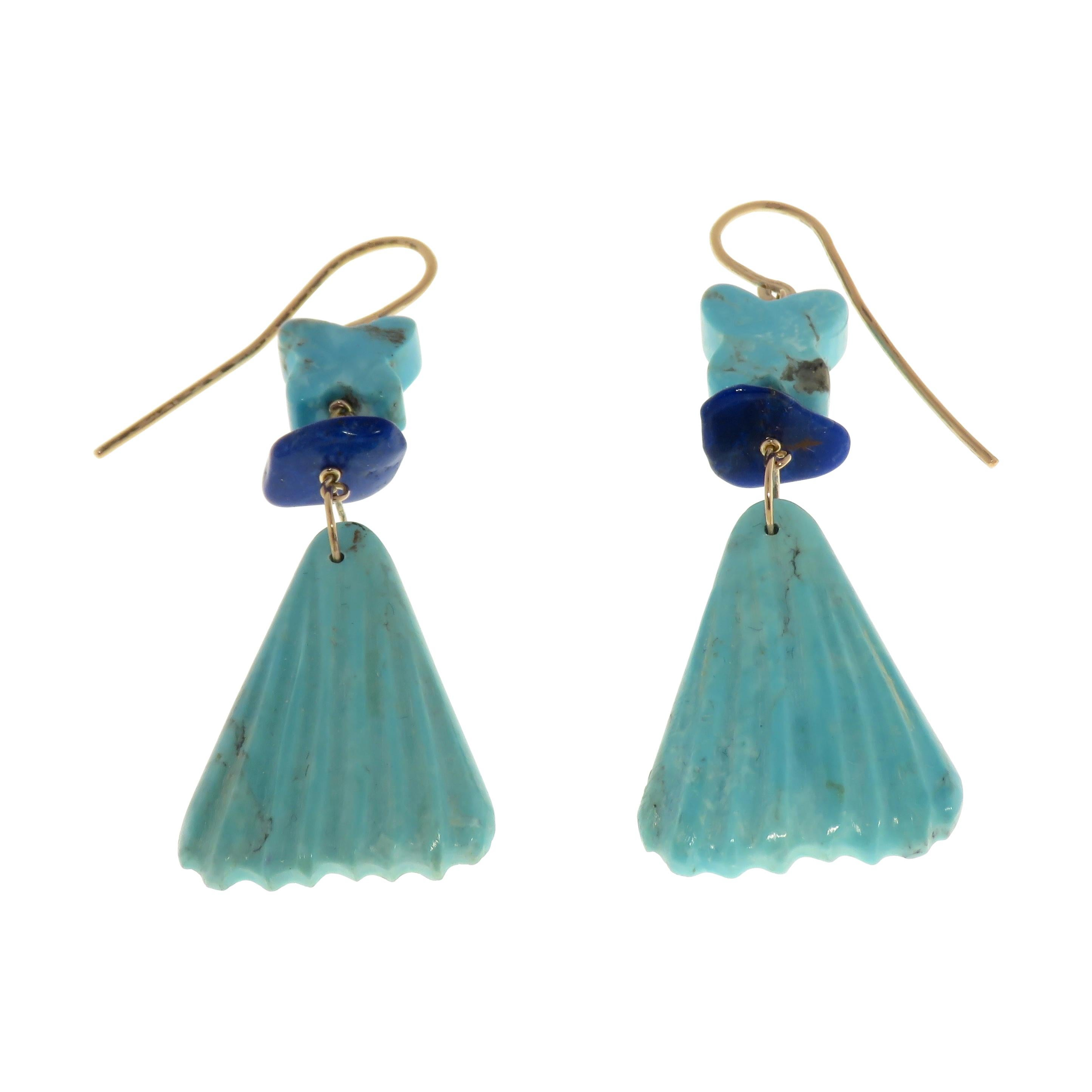 Turquoise Lapis Lazuli 9 Karat Rose Gold Dangle Earrings Handcrafted in Italy