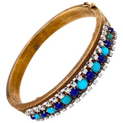 Turquoise Lapis Lazuli and Diamond Bangle Bracelet Estate Fine Jewelry