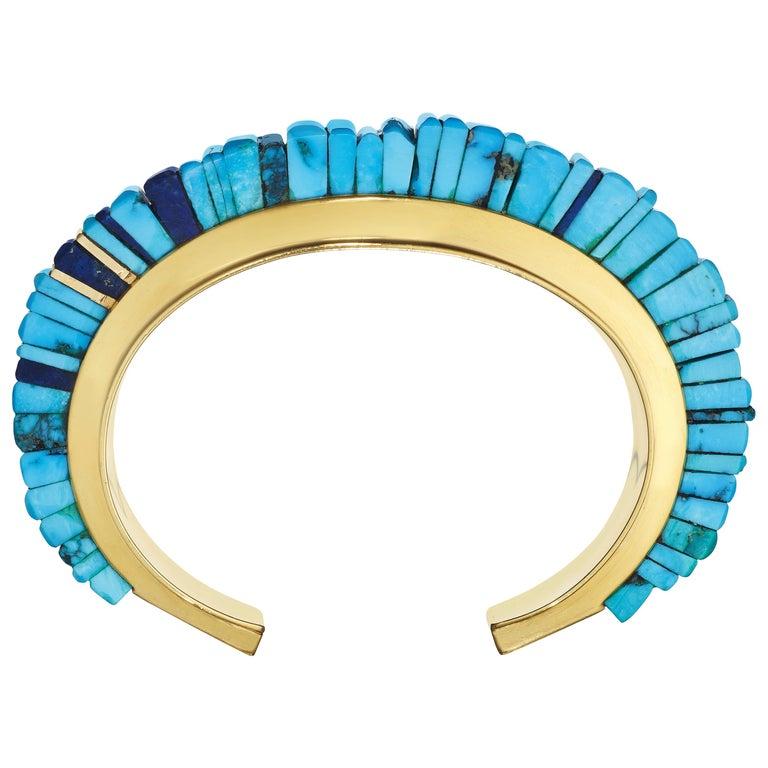 Charles Loloma turquoise, lapis lazuli and gold cuff bracelet, ca. 1975