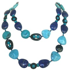 Marina J Turquoise, Lapis Lazuli and  Onyx Long Necklace with 14 Kt Yellow Gold