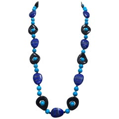 Turquoise, Lapis Lazuli and Onyx Necklace with 14 Karat Yellow Gold Clasp