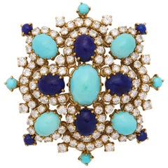 Turquoise, Lapis Lazuli, Diamond and Gold Brooch