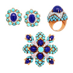 Turquoise Lapis Lazuli Diamond Yellow Gold Brooch Earrings Ring Set