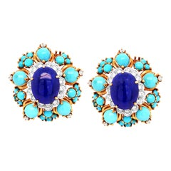 Turquoise Lapis Lazuli Diamond Yellow Gold Clip-On Earrings