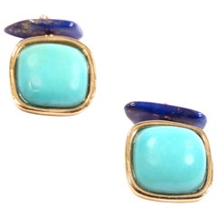 Turquoise Lapis Lazuli Gold Cufflinks Handcrafted in Italy by Botta Gioielli
