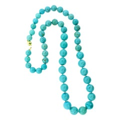 Turquoise Large Bead Long Necklace with Rare Tibetan Natural Turquoise