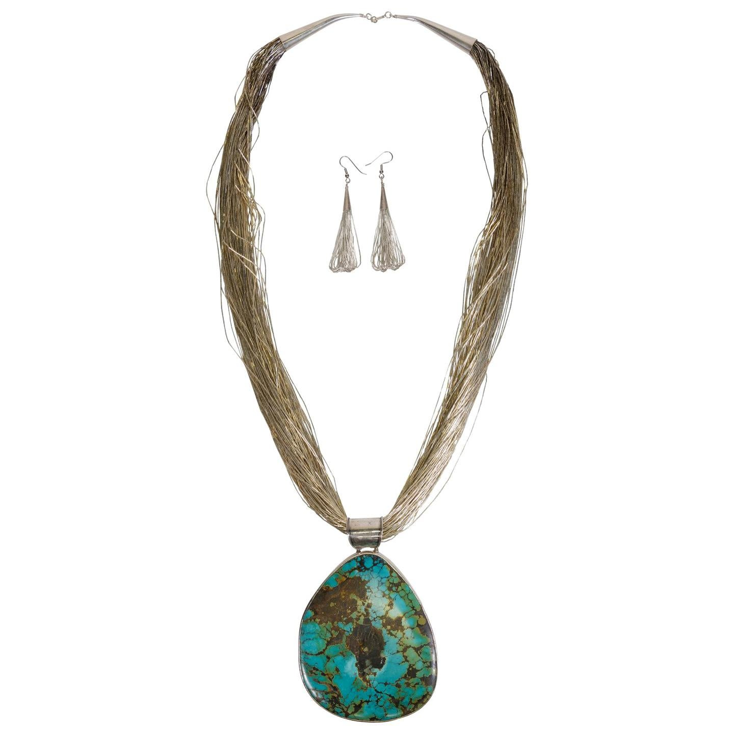 Turquoise Liquid Silver Necklace and Earrings