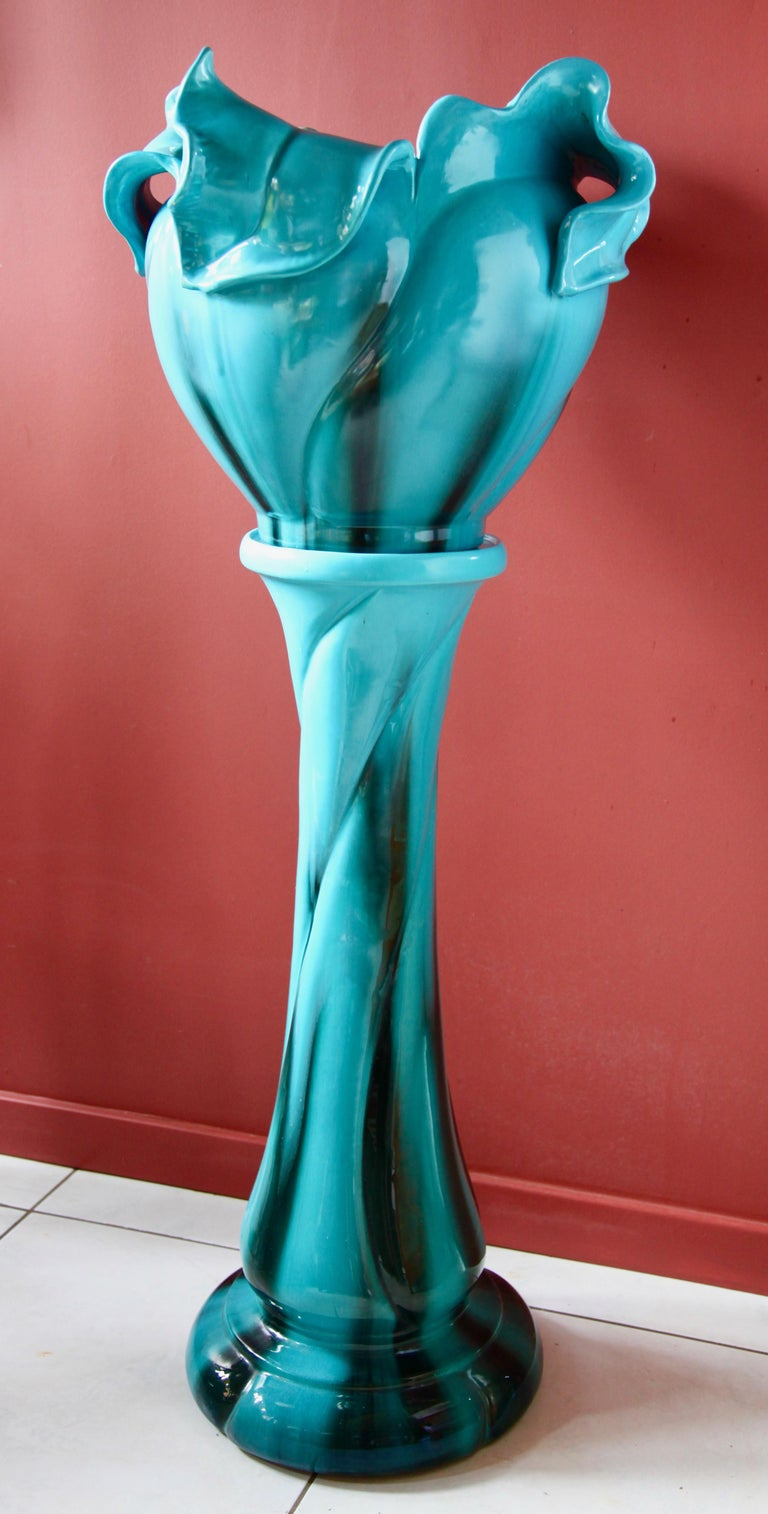 Turquoise Majolica Jardinière 'Planter and Stand', J. Massier Vallauris Signed For Sale 3